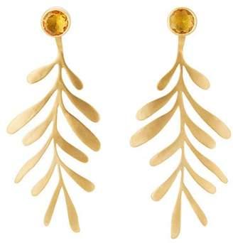 Eye M Women's Garden Leaf Drop Earrings - Gold