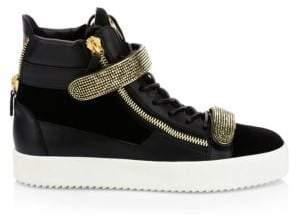 Giuseppe Zanotti High-Top Leather Double Strap Sneakers