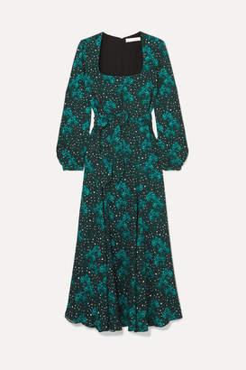 Borgo de Nor Annabella Belted Printed Crepe Dress