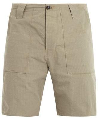 The Lost Explorer - Chur Mid Rise Ripstop Stitch Cotton Shorts - Mens - Green