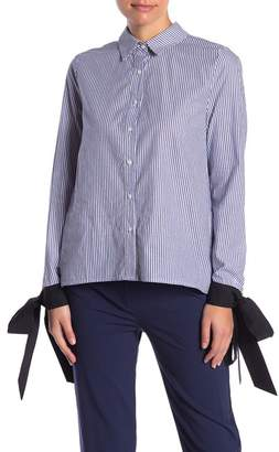 ENGLISH FACTORY Striped Hi-Lo Blouse