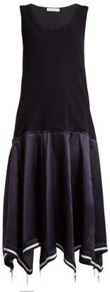 J.W.Anderson Umbrella Skirt Knit And Satin Midi Dress - Womens - Navy Multi