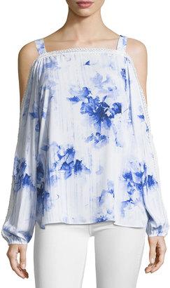 T Tahari Floral-Print Cold-Shoulder Blouse $69 thestylecure.com