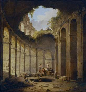 Rob-ert Oil Paintings Canvas Prints polyster Canvas ,the Amazing Art Decorative Canvas Prints of oil painting 'Robert Hubert El Coliseo de Roma 1780 90 ', 10 x 11 inch / 25 x 27 cm is best for Kids Room artwork and Home decoration and Gifts