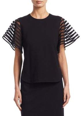 Akris Punto Tulle-Sleeve Jersey Top