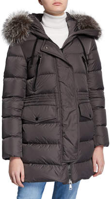 Moncler Aphroti Detachable Fur-Trim Hooded Puffer Coat