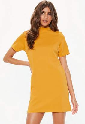 Missguided Mustard High Neck Shift Dress