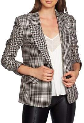 1 STATE 1.STATE Ruched-Sleeve Checked Blazer