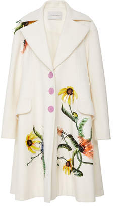 Carolina Herrera Embroidered Three Button Coat
