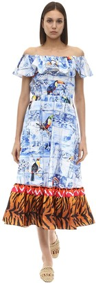Stella Jean Printed Off-the-shoulder Cotton Dress