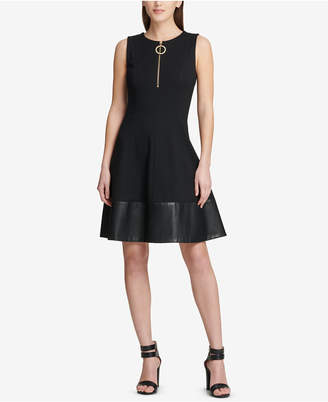 DKNY Faux-Leather-Contrast Fit & Flare Dress, Created for Macy's