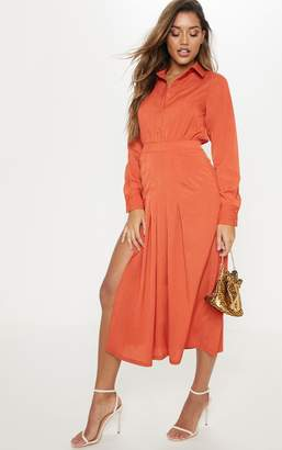 PrettyLittleThing Rust Long Sleeve Midi Shirt Dress
