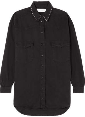 Victoria Beckham Victoria, Studded Denim Shirt - Black