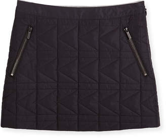 Karl Lagerfeld Quilted Zip-Trim Mini Skirt, Black, Size 6-10
