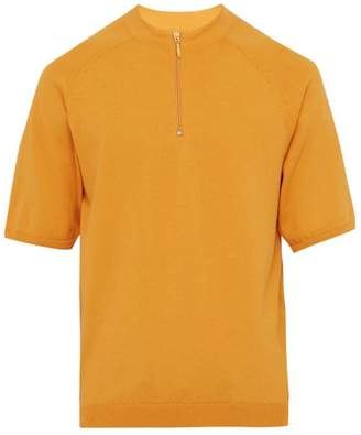 Jacquemus Half Zip Knitted Cotton Polo Shirt - Mens - Orange