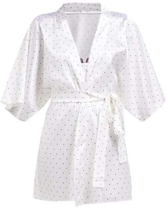 47f0fcf7c1 Fleur of England Polka Dot Print Silk Robe - Womens - White Black