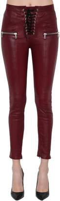 Unravel Skinny Lace-Up Leather Pants