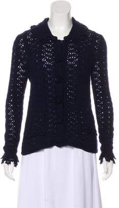 Oscar de la Renta Cashmere Knit Long Sleeve Cardigan