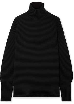 Victoria Beckham Victoria, Oversized Ribbed Wool Turtleneck Sweater - Black