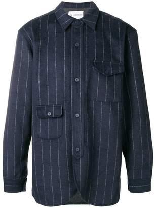 Han Kjobenhavn striped asymmetrical pocket shirt