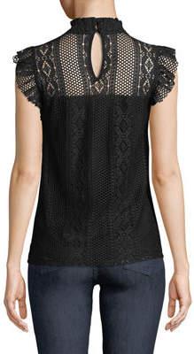 Neiman Marcus Mock-Neck Crochet Lace Blouse
