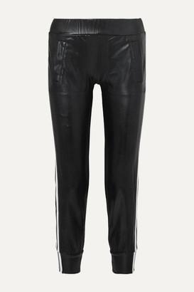 Norma Kamali Neoprene-trimmed Coated Jersey Track Pants