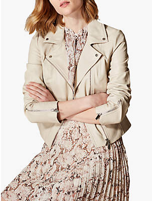 Karen Millen Fitted Leather Biker Jacket, Neutral