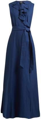 A.P.C. Ruffle-trimmed cotton and linen-blend wrap dress