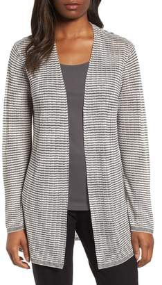 Eileen Fisher Stripe Organic Linen Blend Cardigan