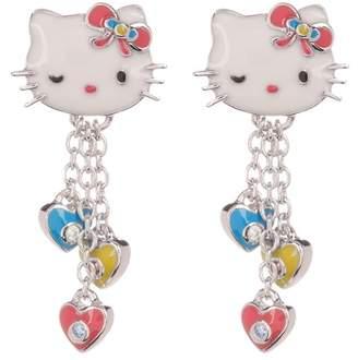 Hello Kitty Sterling Silver Swarovski Enamel Accented Heart Charms Drop Earrings