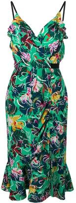 Saloni floral print peplum dress