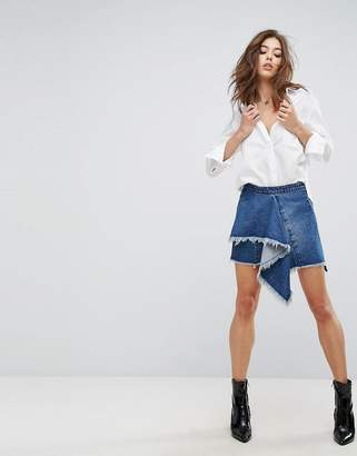Blank NYC Denim Skirt with Raw Hem