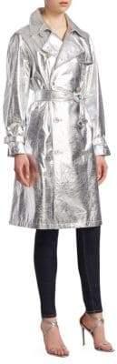 Ralph Lauren Collection Jayne Metallic Leather Trench Coat