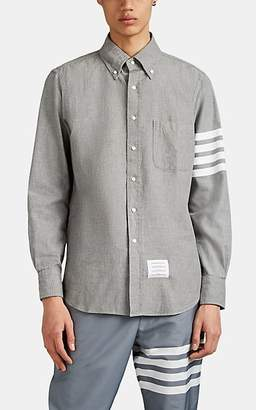 c8320cd214 Thom Browne Men's Block-Striped Cotton Chambray Shirt - Gray