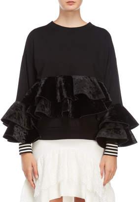 Romanchic Black Crushed Velvet Ruffled Sweatshirt