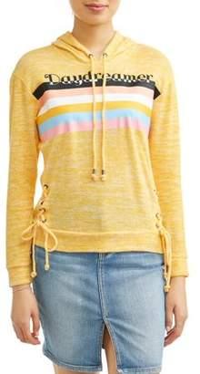 No Boundaries Juniors' I Love Me Tie Front Pullover Drawstring Hoodie