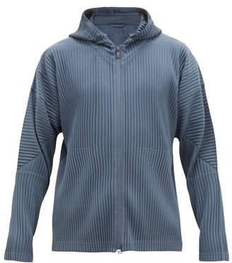 Issey Miyake Homme Plissé Homme Plisse Zip Through Pleated Hooded Sweatshirt - Mens - Blue