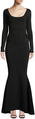 Zac Posen Long-Sleeve Knit Gown with Tonal Piping
