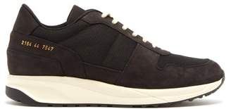 Common Projects Track Vintage Suede And Technical Mesh Trainers - Mens - Black