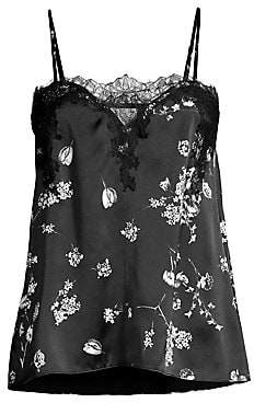 CAMI NYC Women's The Sweetheart Lace-Trimmed Floral Silk Camisole