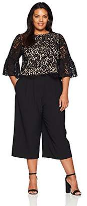 Jessica Howard Women's Plus Size Lace Top & Cropped Pant Set