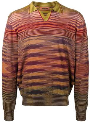 Missoni knitted patterned polo shirt
