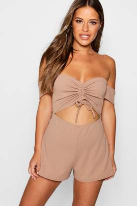 boohoo Petite Ruched Front Bardot Playsuit