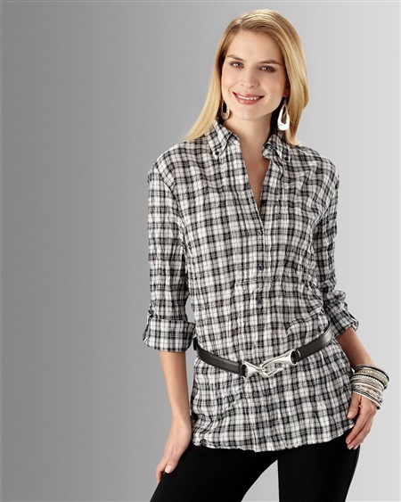 Pleated Plaid Slone Tunic Top