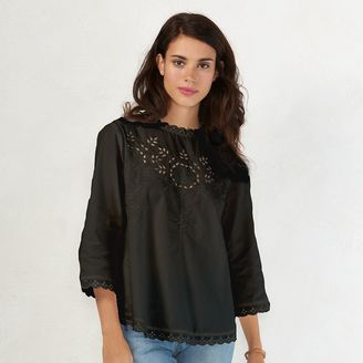 Women's LC Lauren Conrad Embroidered Poplin Top $44 thestylecure.com