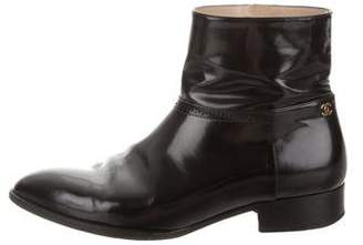 Chanel Patent Leather Short Ankle Boots
