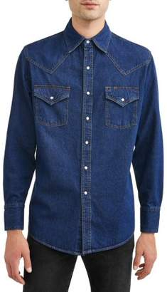 Plains Big And Tall Men's Long Sleeve Washed Denim Shirt