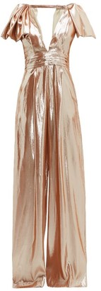 Roland Mouret Mooreland Silk Blend Lame Jumpsuit - Womens - Rose Gold