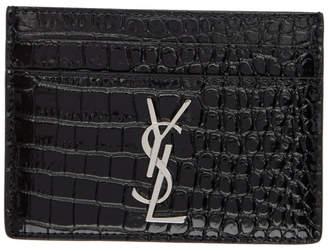 Saint Laurent Black Croc Monogramme Card Holder