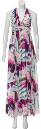 Aidan Mattox Watercolor Halter Gown Pink Watercolor Halter Gown